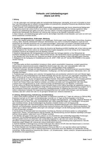 Verkaufs- und Lieferbedingungen (Stand Juli 2015)